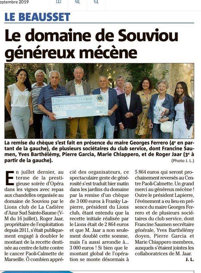 Read more about the article Le Domaine de Souviou généreux mécène !